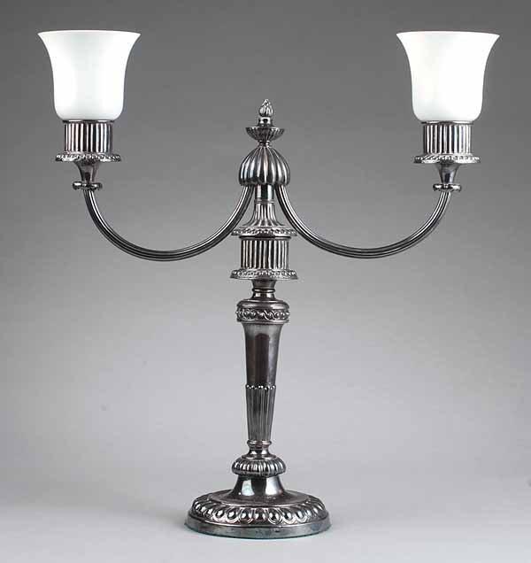 0748: English Silverplate Two-Light Candelabrum