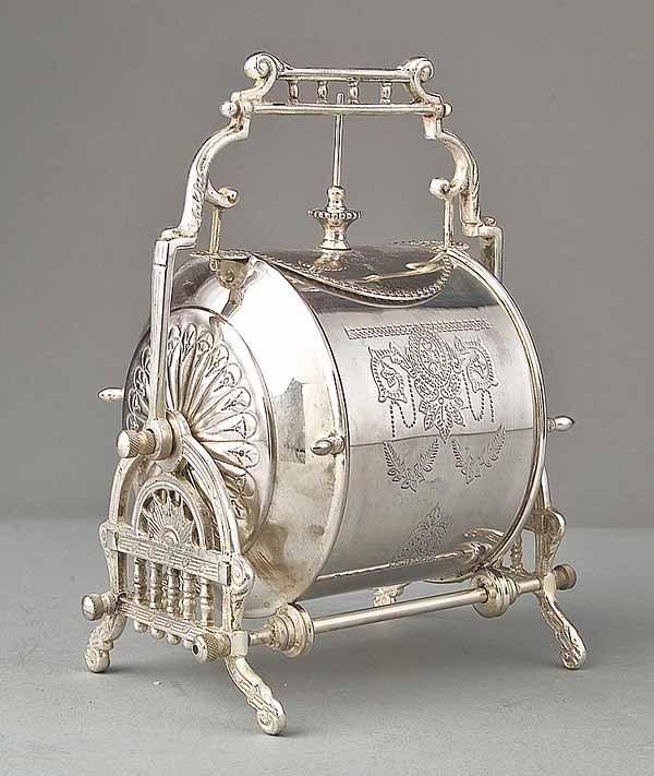 0749: English Silverplate Barrel-Form Biscuit Box