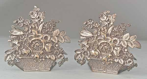 0750: Pair of Cast Silverplate Bookends