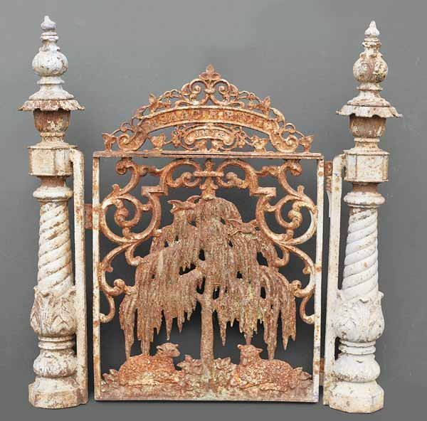"""0914: Set """"Lamb and Willow"""" Cast Iron Fencing"""