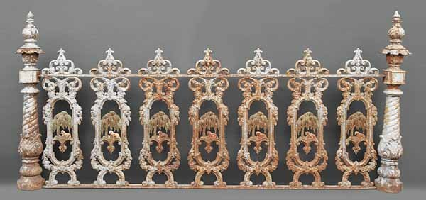 """0914: Set """"Lamb and Willow"""" Cast Iron Fencing - 2"""
