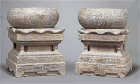 0988 Pair of Chinese Carved Stone Garden Seats