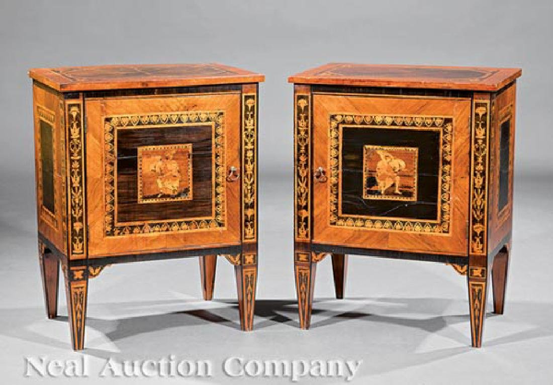 Italian Parquetry and Marquetry Petite Commodes