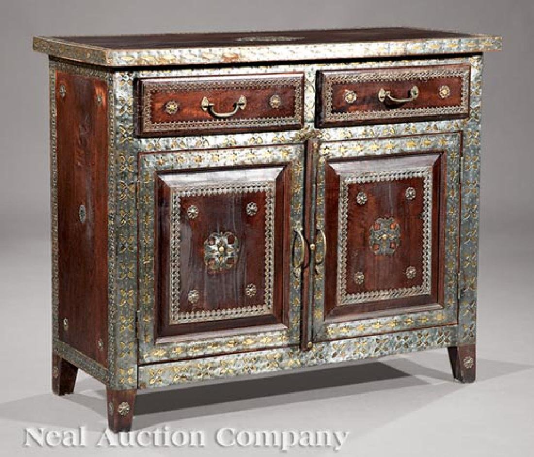Spanish Pewter and Brass Overlay Cabinet