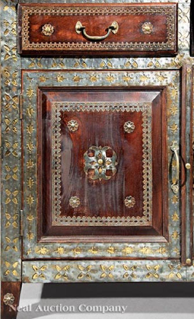 Spanish Pewter and Brass Overlay Cabinet - 2