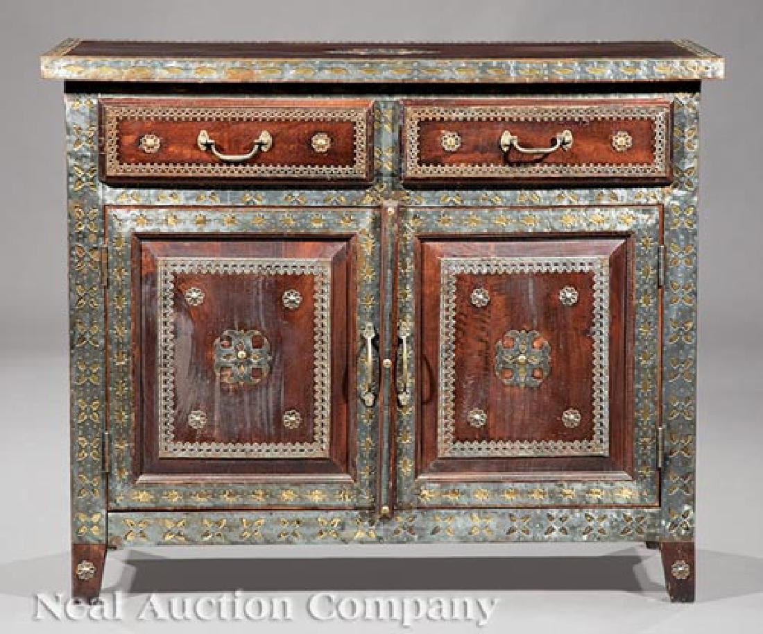 Spanish Pewter and Brass Overlay Cabinet - 3