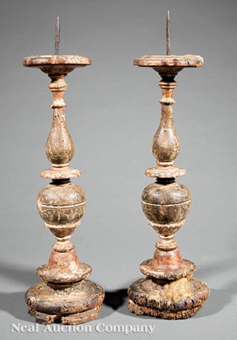 Italian Carved and Painted Pricket Candlesticks
