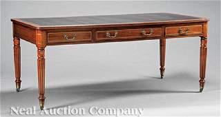 Regency-Style Brass Inlaid Mahogany Writing Table