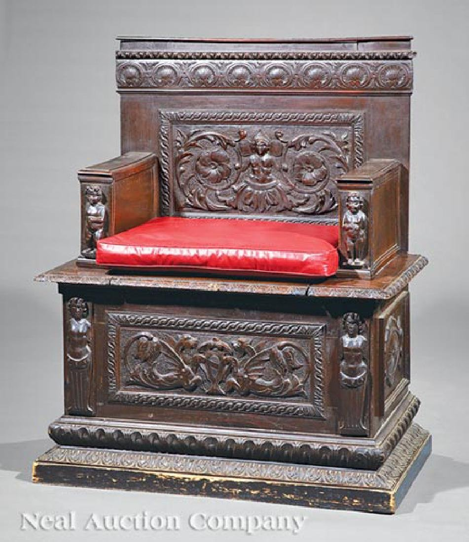 Renaissance-Style Carved Hall Chair