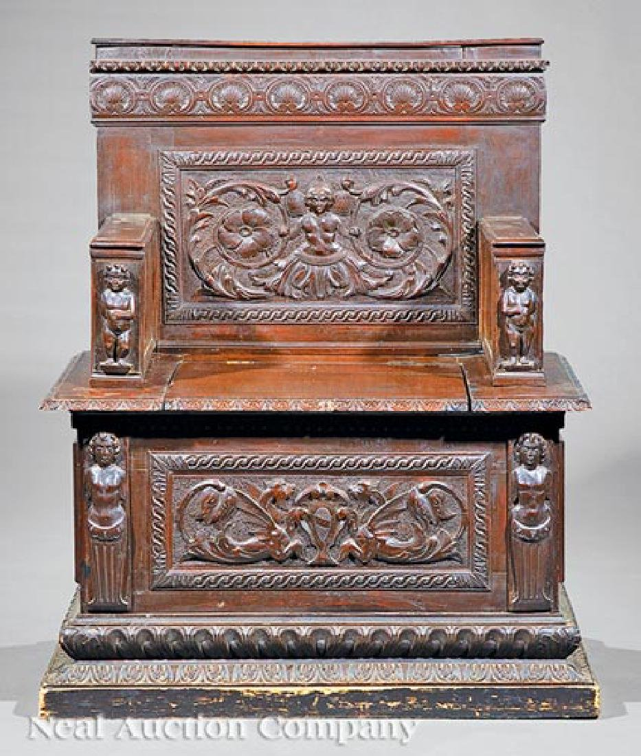 Renaissance-Style Carved Hall Chair - 2