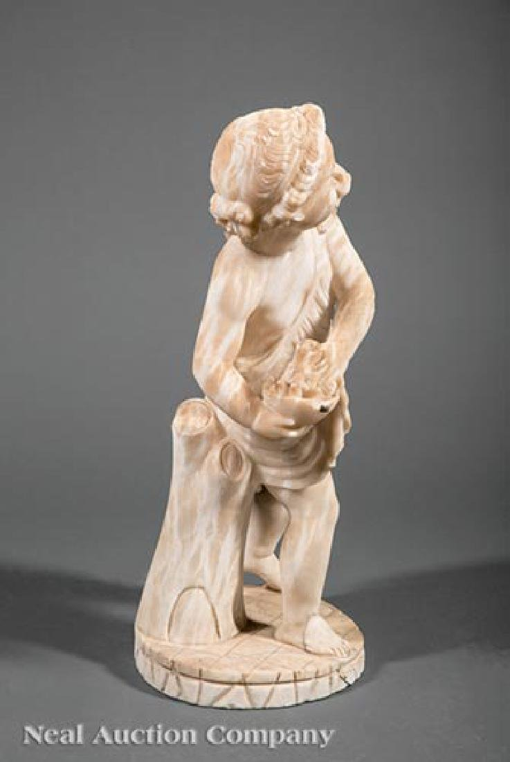Carved Marble Figure of Putto with Cat - 2