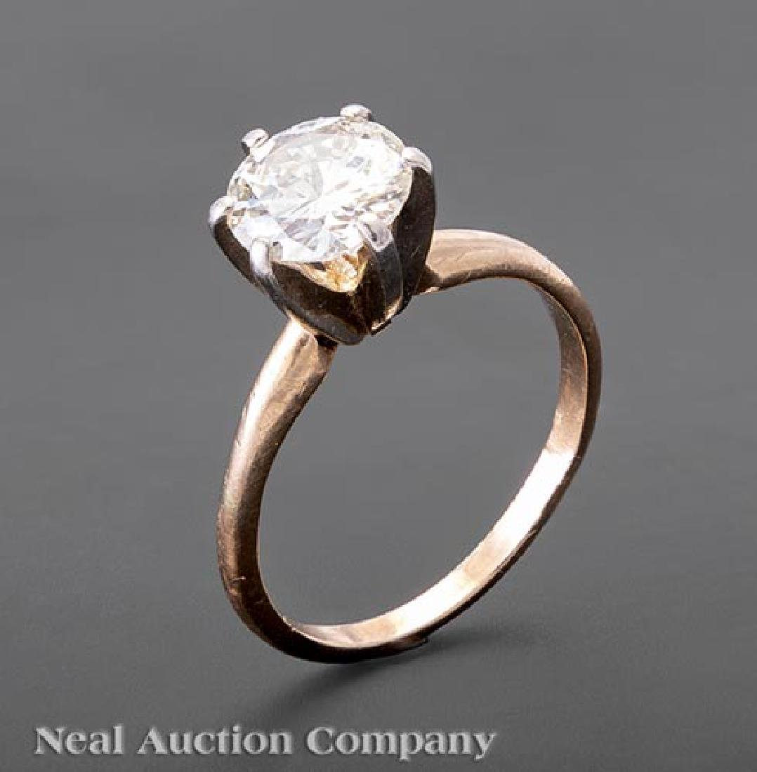 14 kt. Yellow Gold and Diamond Solitaire Ring