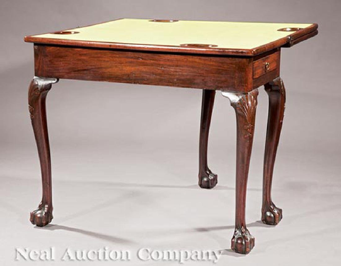 George II Carved Mahogany Triple Top Games Table - 3