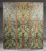 Continental Painted Leather Folding Screen