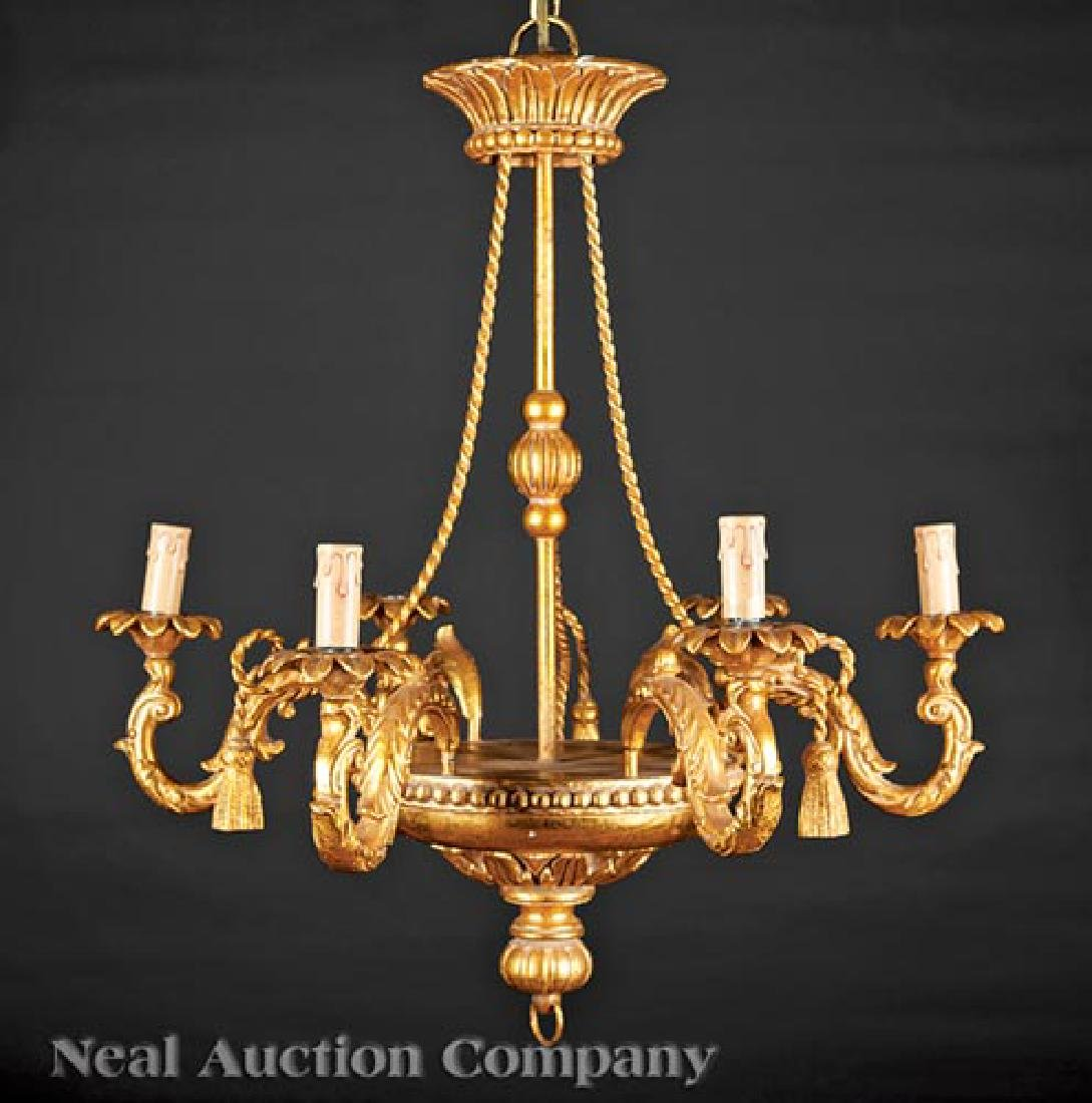 Neoclassical-Style Giltwood Six-Light Chandelier