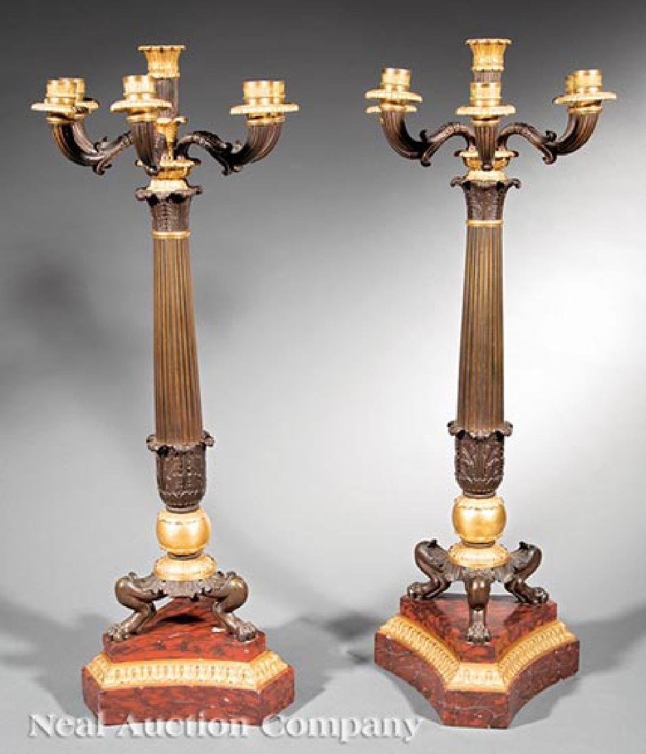 Gilt and Patinated Bronze, Marble Candelabra
