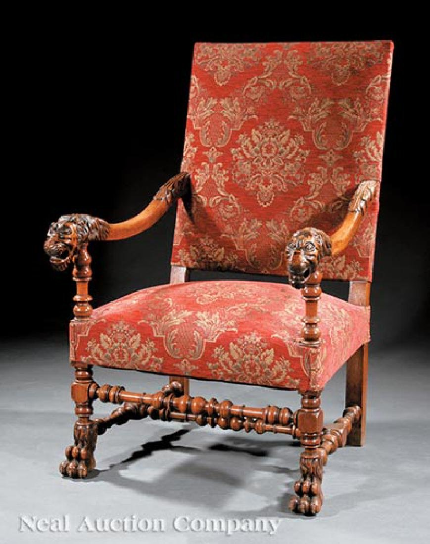 French Carved Walnut Fauteuil