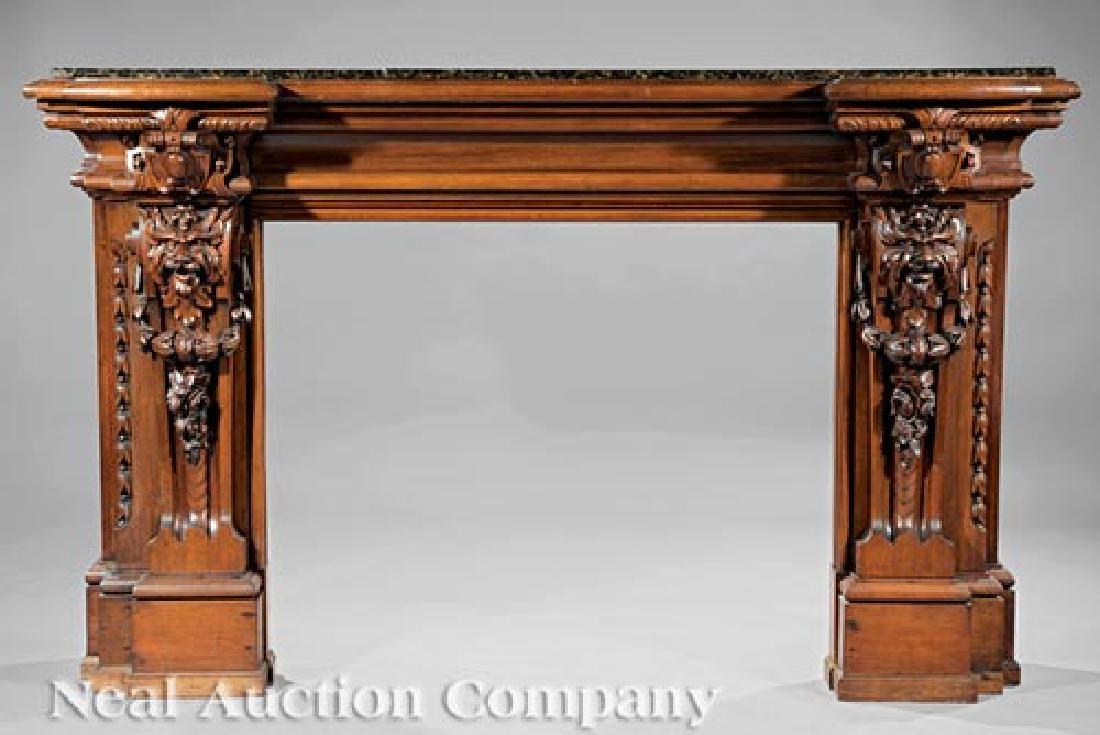Continental Carved Walnut Mantel