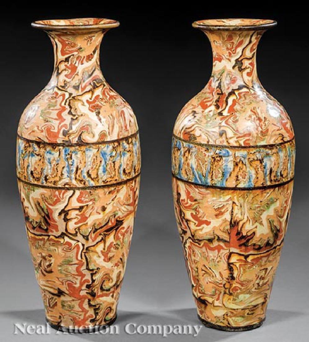 French Art Nouveau Mixed-Earth Pichon Vases