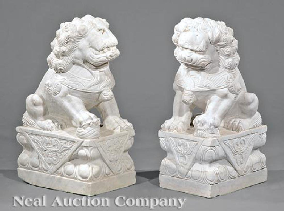 Pair of Chinese Marble Buddhist Lions