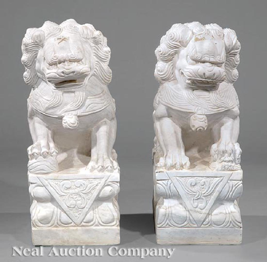Pair of Chinese Marble Buddhist Lions - 2