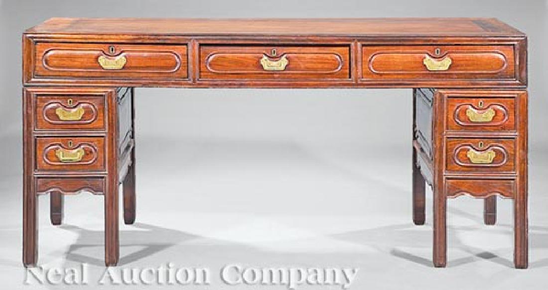 Chinese Hardwood Three-Part Pedestal Desk
