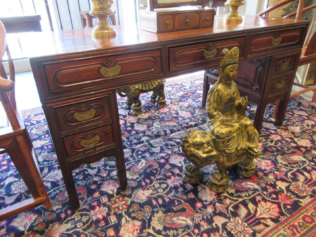 Chinese Hardwood Three-Part Pedestal Desk - 2