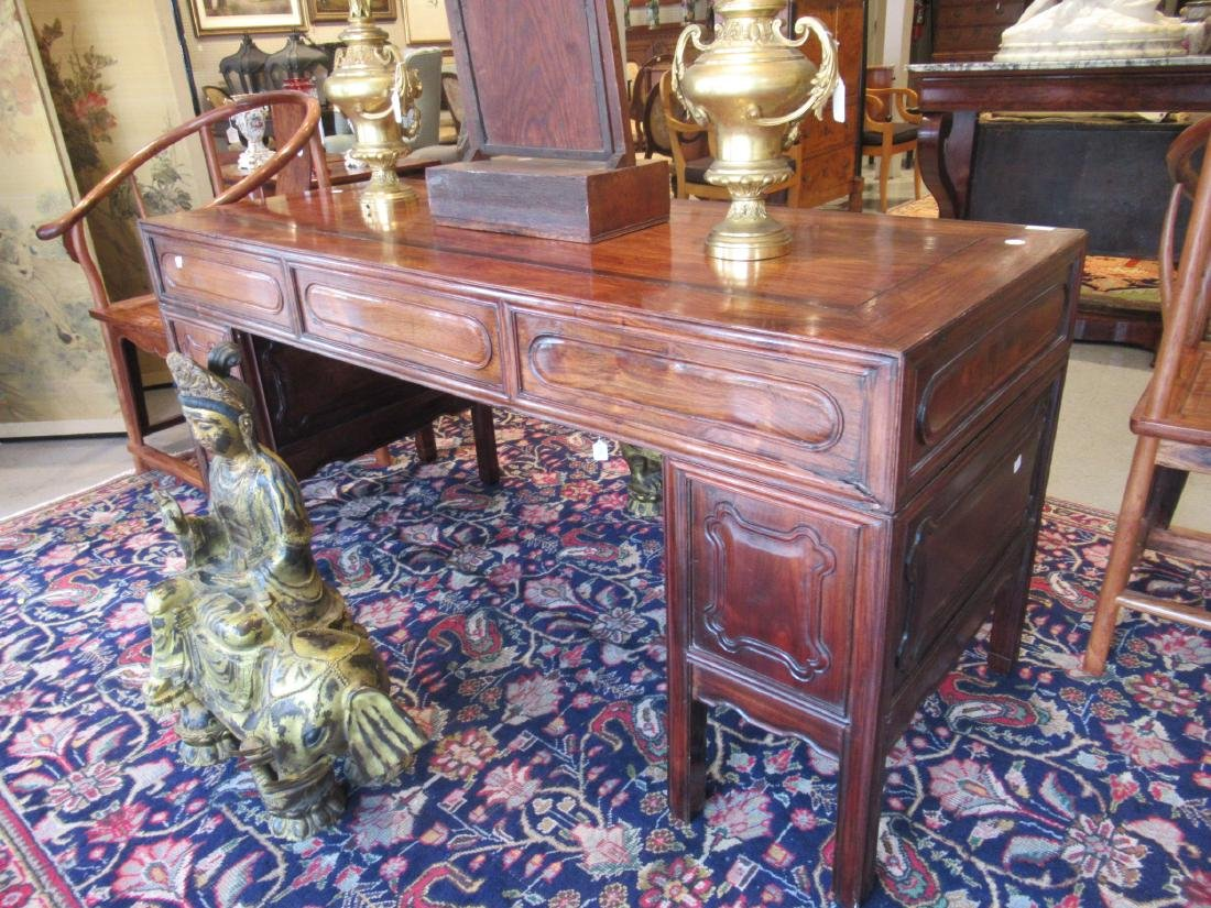 Chinese Hardwood Three-Part Pedestal Desk - 3