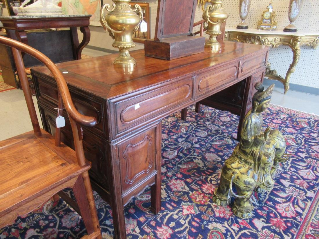 Chinese Hardwood Three-Part Pedestal Desk - 4