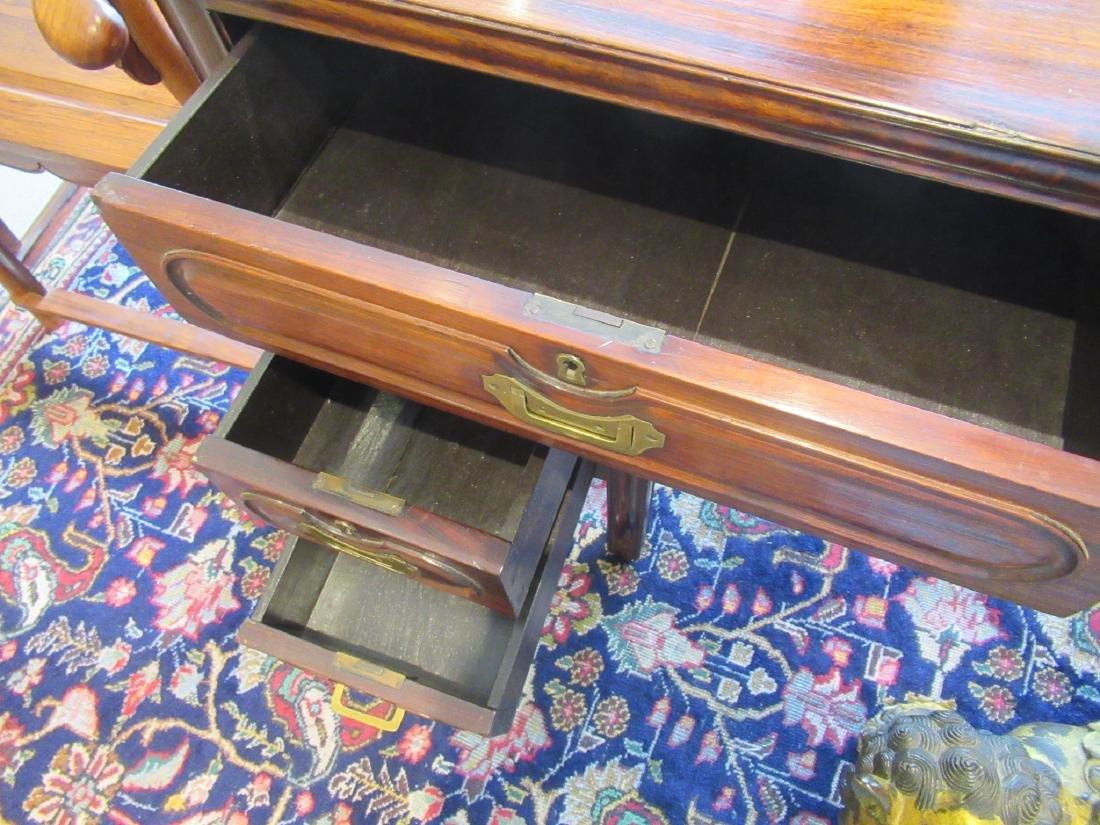 Chinese Hardwood Three-Part Pedestal Desk - 7