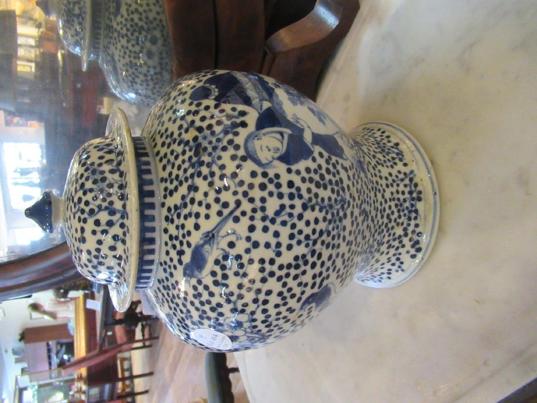 Chinese Blue and White Porcelain Covered Jar - 3