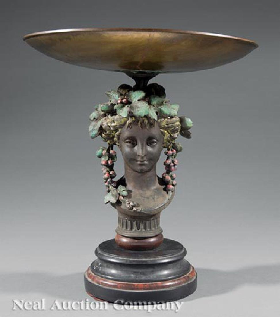 Patinated Metal and Marble Figural Tazza
