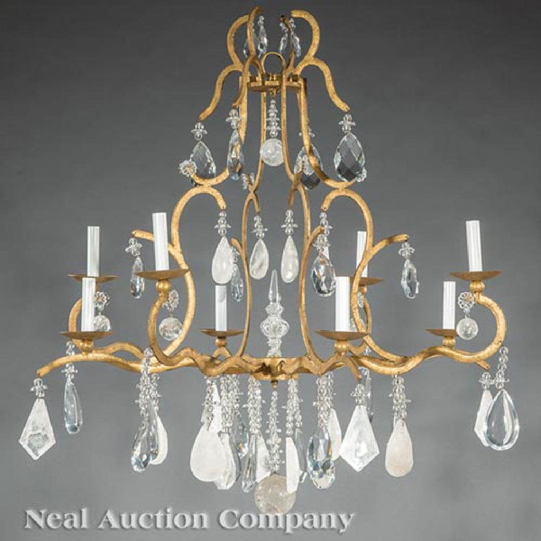 Gilt Metal, Rock Crystal, Cut Crystal Chandelier