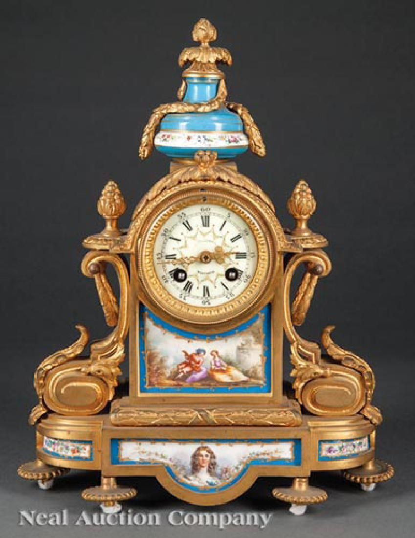 Gilt Bronze and Porcelain-Mounted Mantel Clock