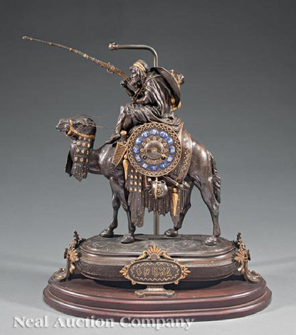 French Gilt, Patinated Metal Figural Mantle Clock