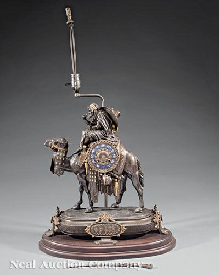 French Gilt, Patinated Metal Figural Mantle Clock - 2
