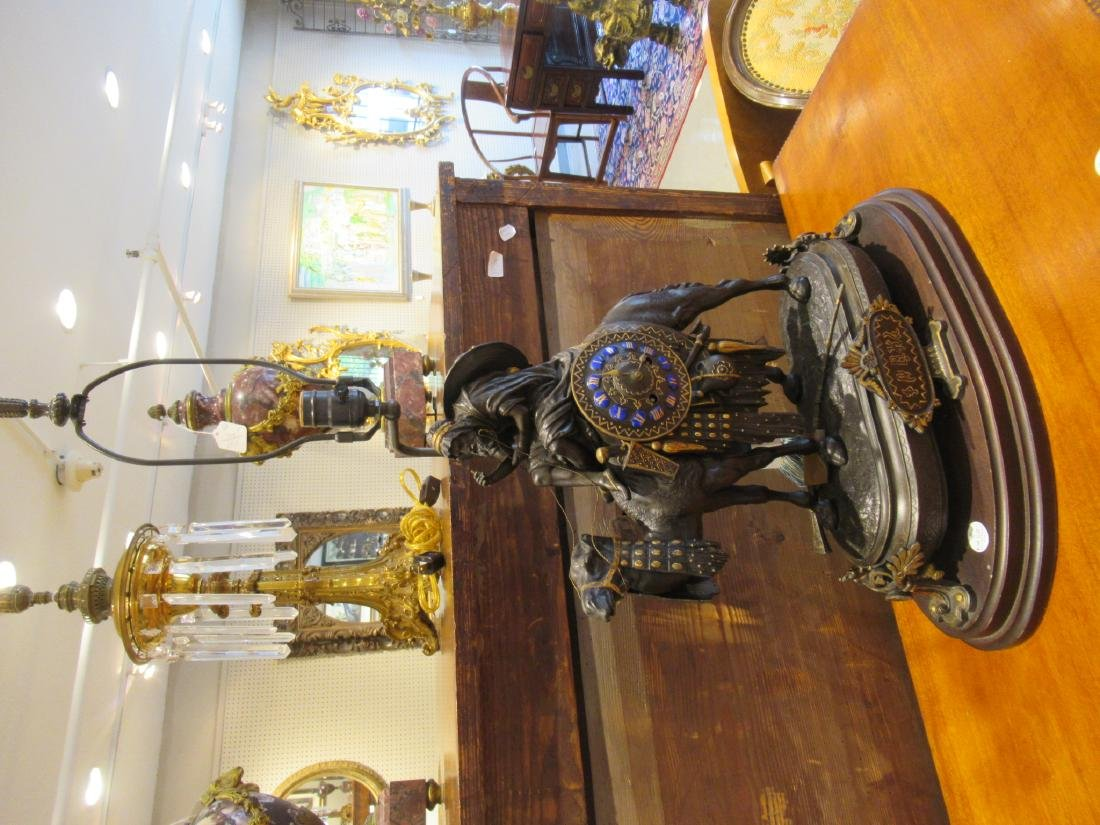 French Gilt, Patinated Metal Figural Mantle Clock - 3