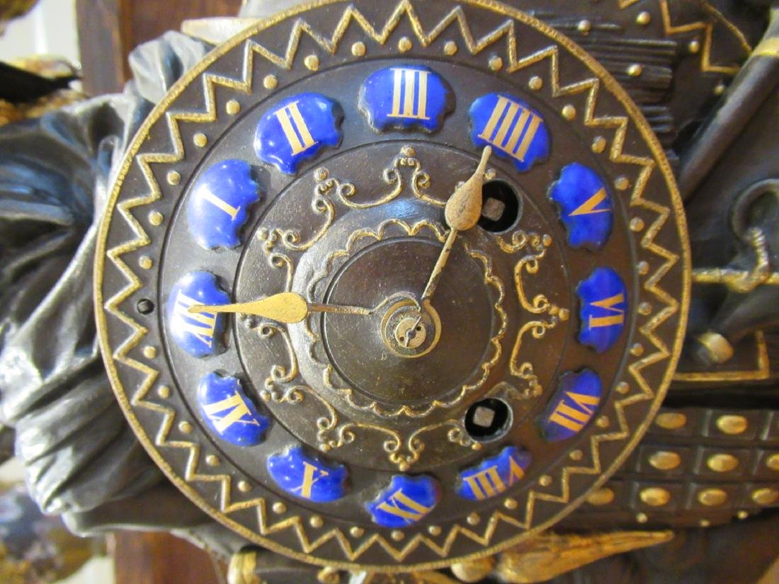 French Gilt, Patinated Metal Figural Mantle Clock - 4