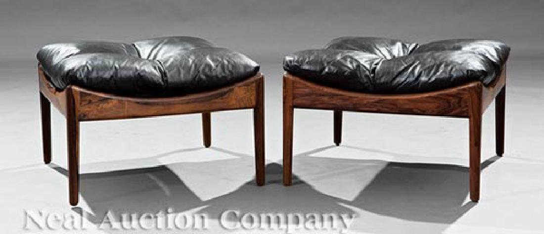 Pair of Danish Modern Rosewood Stools - 2