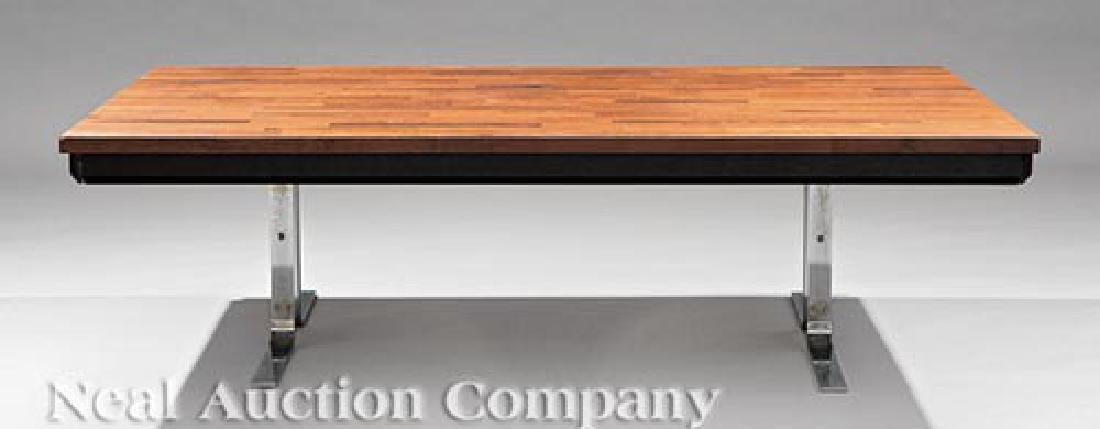 Mid-Century Modern Rosewood, Chrome Coffee Table