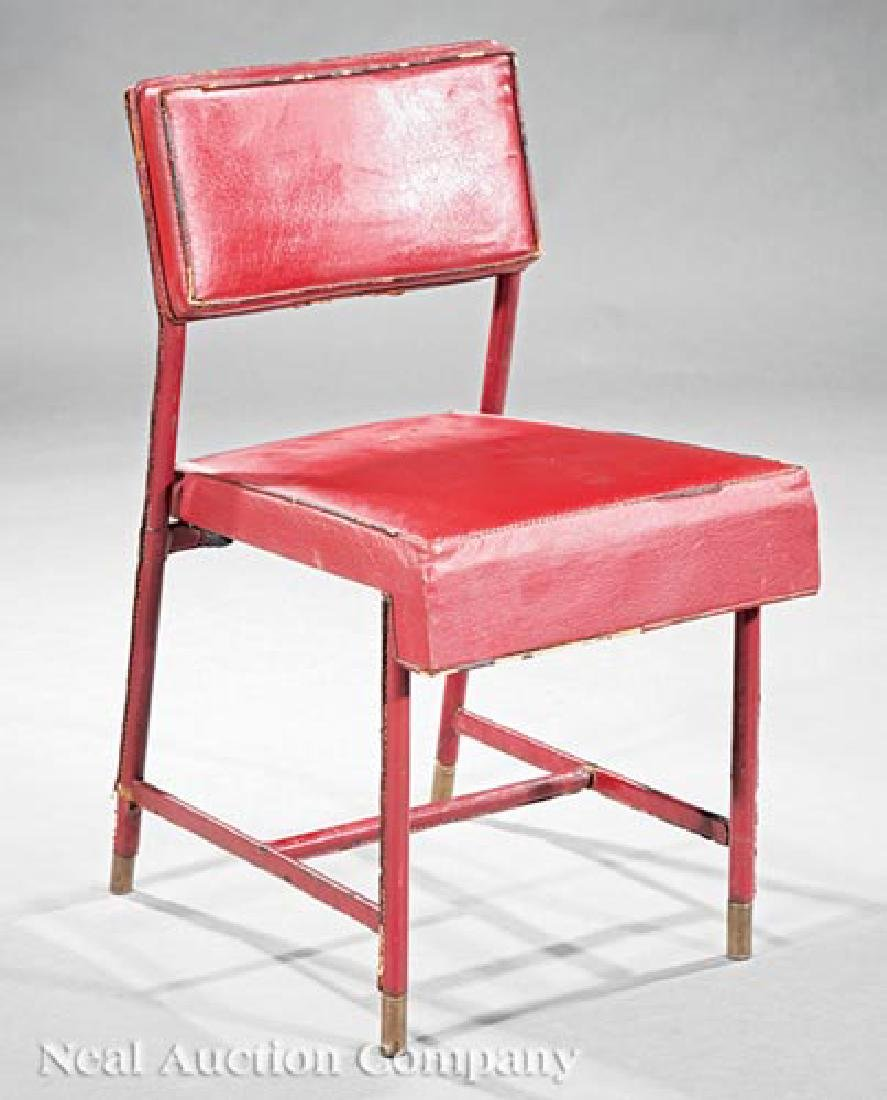 Jacques Adnet Leather and Brass Side Chair