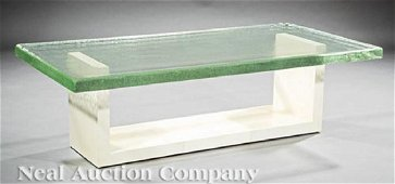 Lee Ledbetter Glass and Parchment Coffee Table