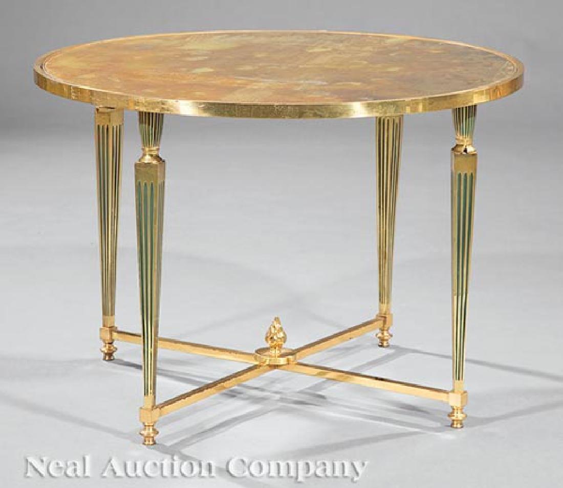 Hollywood Regency Enamel, Brass, Eglomise Table
