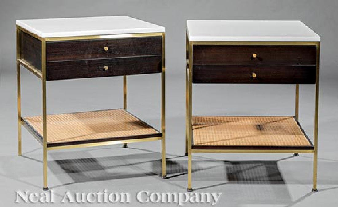 Calvin Glass, Mahogany, Brass, Caned End Tables