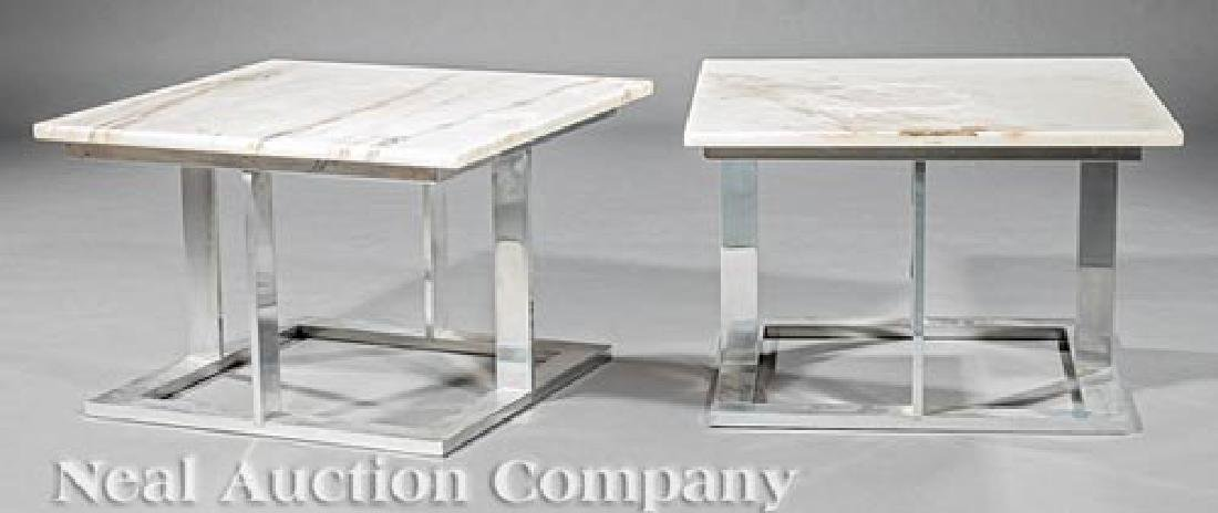 Pair of Chromed Aluminum and Marble End Tables