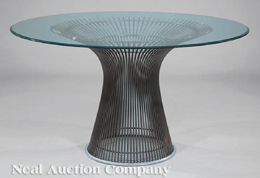 Knoll Bronzed Steel and Glass Dining Table