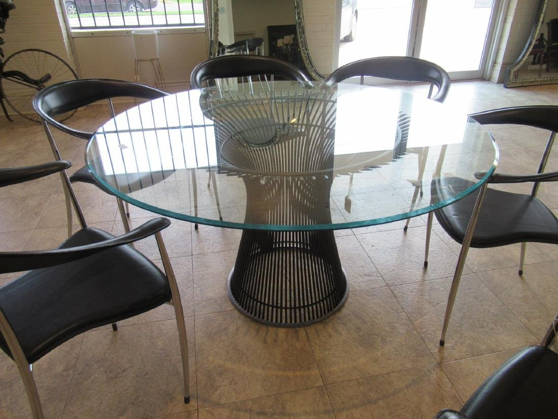 Knoll Bronzed Steel and Glass Dining Table - 3