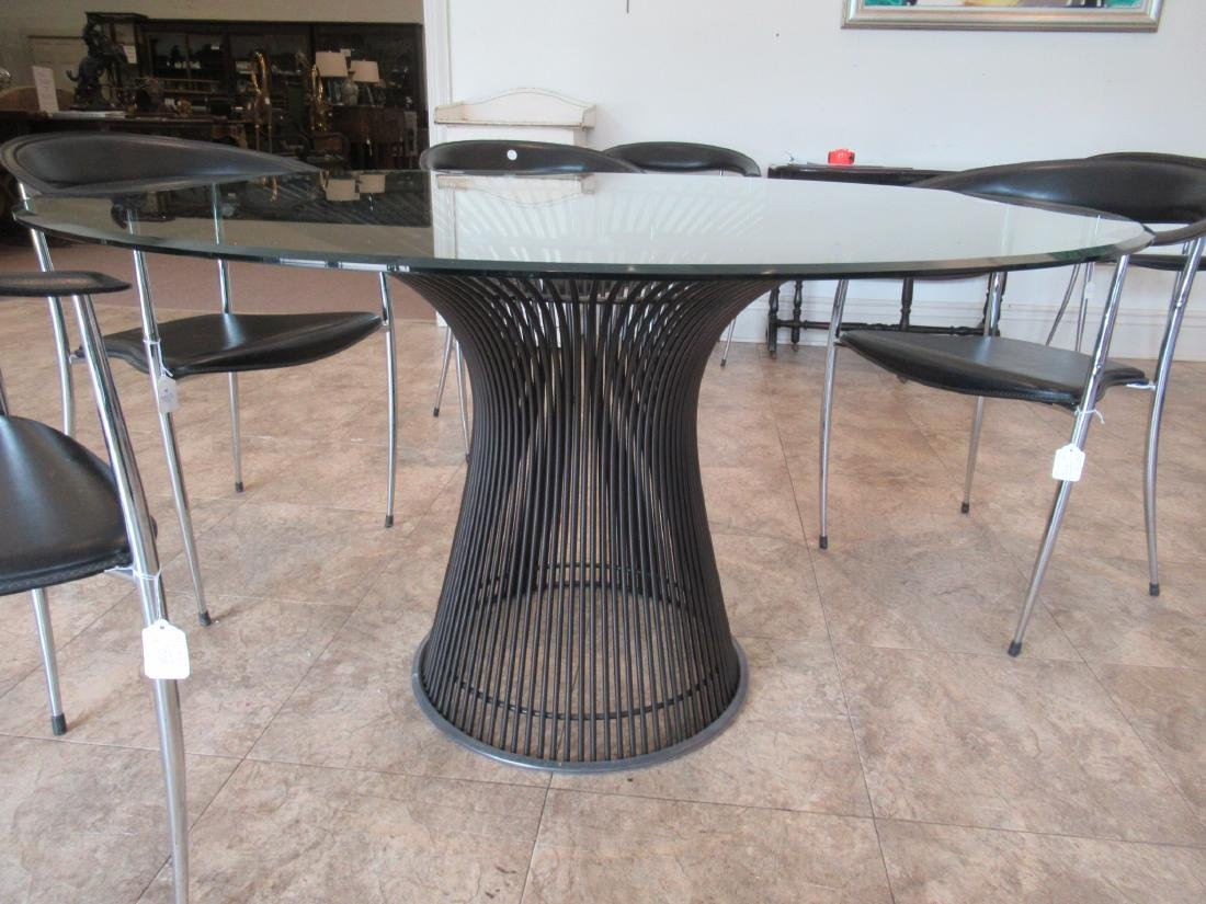 Knoll Bronzed Steel and Glass Dining Table - 8