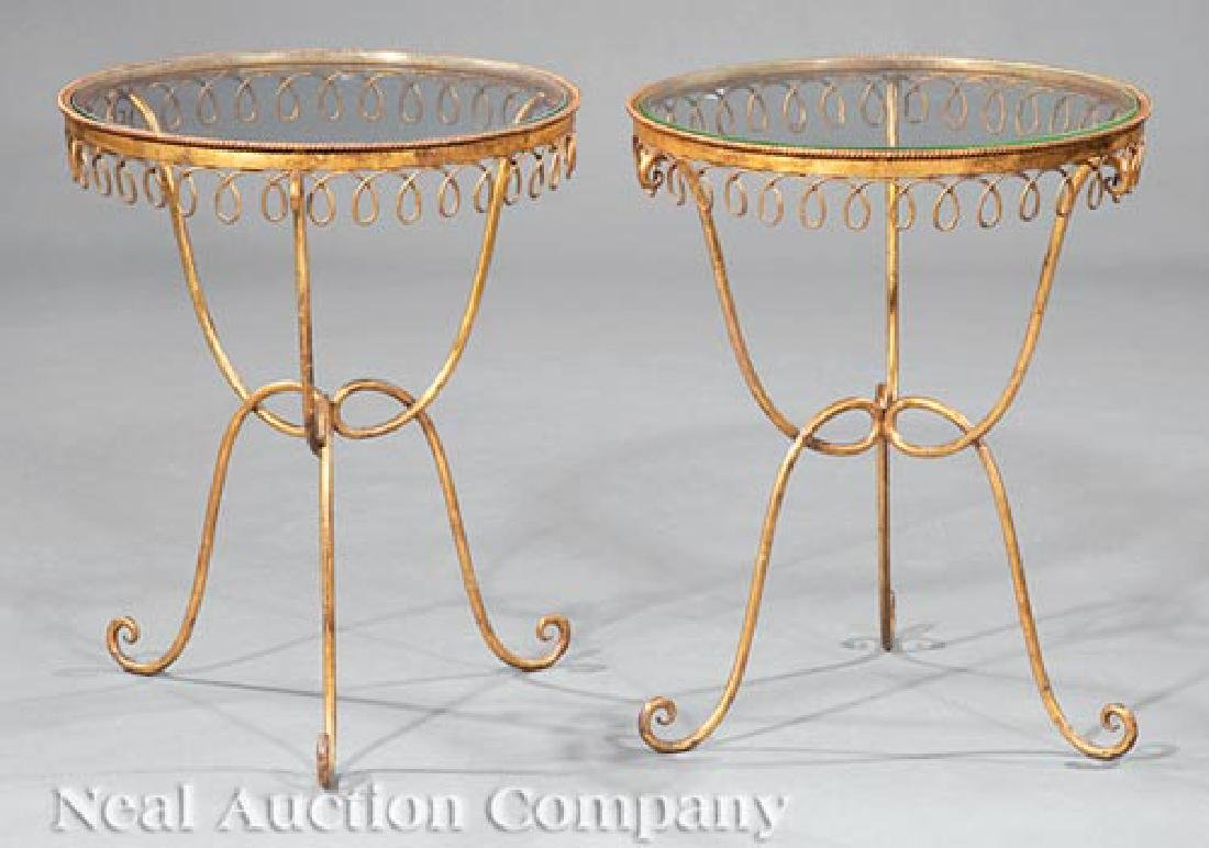 Hollywood Regency-Style Metal & Glass Tables