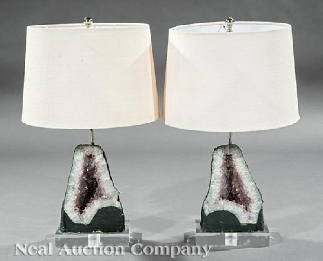 Pair of Amethyst Geode Table Lamps